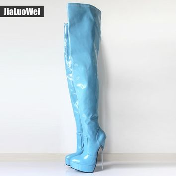 2017 Women Spring Over-The-Knee Boot 18cm Thin High Heel Sexy Fetish Ladies Zip Fashion Thigh Long Nightclub Pole Dancing Boots
