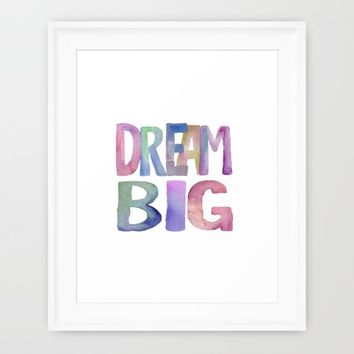 "Inspirational Quote ""DREAM BIG"" Watercolor Letters Typography Nursery Print Motivational Quote Art Framed Art Print by PrintableLifeStyle"