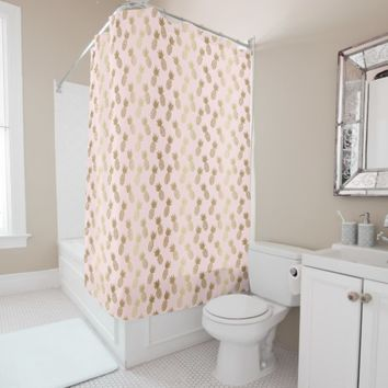 Gold Pineapple Pattern Shower Curtain