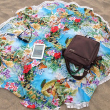 Bridesmaids Gifts Set of 5 Roundies Round Towel Beach Throw Scarf Shawl Poncho Sarong Tropical Island Boho Print