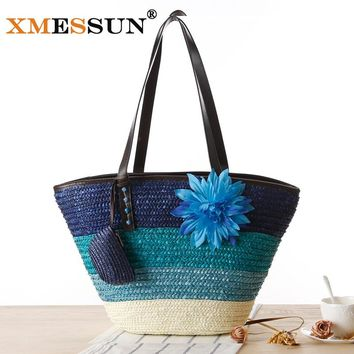 Knitted Straw Bag Summer Flower Bohemia Fashion Women's Handbags Color Stripes Shoulder Bags Beach Bag Big Tote Bags L159