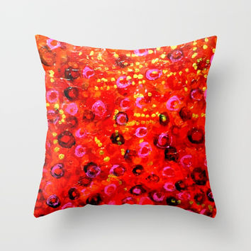 Aboriginal Art - Finger Painting Throw Pillow by Chris' Landscape Images & Designs