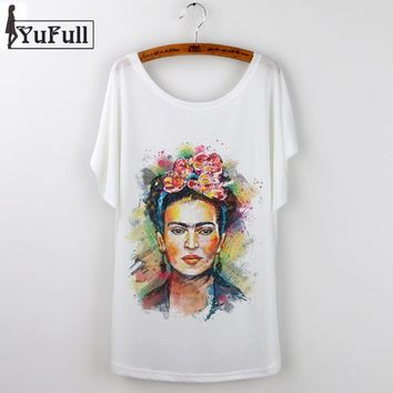 Frida Kahlo Print Camisetas Mujer Summer 2017 Casual T-Shirt Women Tops Harajuku White Loose Tshirt Short Sleeve T Shirt Femme