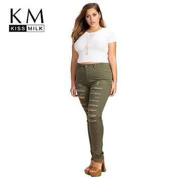 Kissmilk  Women Plus Size  Army Green High Waist Distressed Skinny Jeans Trousers Ripped Big Size Pencil Pants 3XL 4XL 5XL 6XL