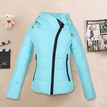 Down cotton-padded jacket and cap personality cotton coat Sky Blue