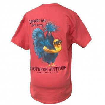 Southern Attitude Vacation Hair Dont Care Coral T-Shirt