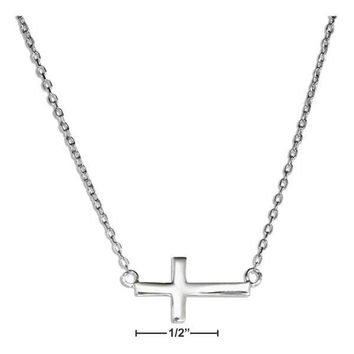 "Sterling Silver 16-17"" Adjustable Small Sideways Cross Necklace"
