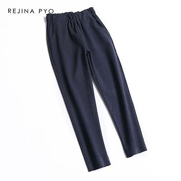 REJINAPYO Women Casual Winter Wool Blends Pant Ankle Length Womens Fashion Loose Harem Pant Trousers Elastic High Waist Pants