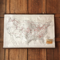 Antique Railroad Mileage Map of the United States, Pull Down Map, Pull Down Chart, Railroad Map