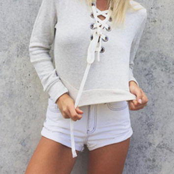 Cally Criss Cross Cropped Sweater