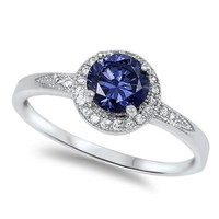 .925 Tanzanite and White CZ Ring