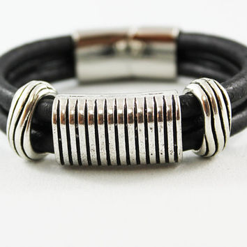 Black Leather Cuff Bracelet with Stainless Steel Clasp, Ribbed Silver Sliders, Unisex Jewelry