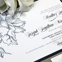 Black and White Wedding Invitation Suite, Floral Wedding Pocket Invitation, Calligraphy Wedding Invites, Modern Wedding Invitations Formal