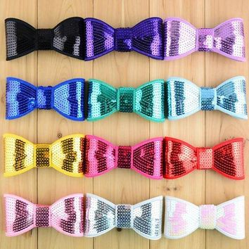 PEAP78W 20pcs New arrival 4.5' big sequin bows girls high quality embroidery Christmas bow for hair accessories headband HDJ09