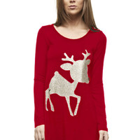 Christmas Rudolph the Glitter Reindeer Print Tunic, Red-Gold