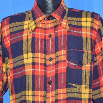 40s McGregor Plaid Long Sleeve Wool shirt Large