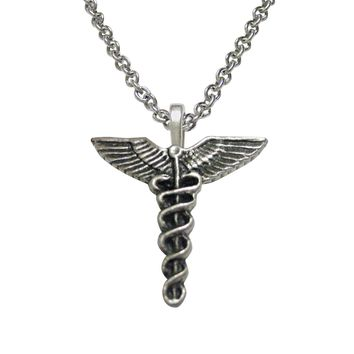 Textured Medical Symbol Caduceus Necklace