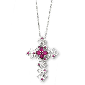 Sterling Silver July Birthstone Cross Sentimental Expressions Necklace