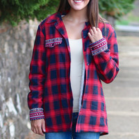 Fur Lined Aztec + Plaid Flannel Jacket {Red}