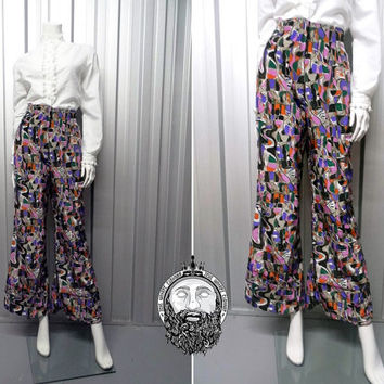 Vintage 70s Multicoloured Satin Pants Abstract Pattern Wide Leg Trousers Disco Pants 1970s Flares Bell Bottoms Psychedelic Print Palazzo