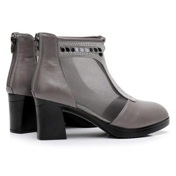 Breathable Mesh Square Heel Leather Sequined Boots