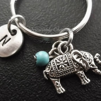 Sale...Sacred Elephant keychain, bag charm, purse charm, monogram personalized item No.644