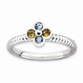 Sterling Silver Blue Topaz & Citrine Flower Ring