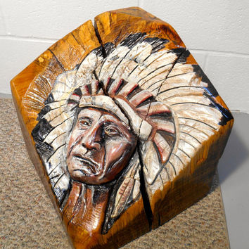 Indian Chief Oak Carving on Recycled Timber Oil Painted Relief Carving, Native American Carving
