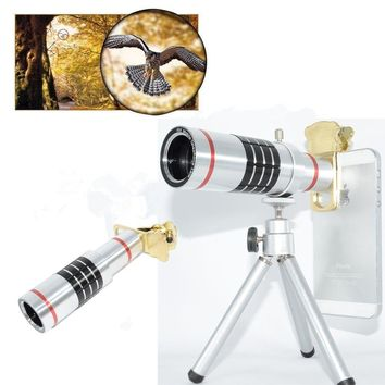 ZEALLION Universal Clips Tripod 18X Optical Telescope Camera Telephoto Lens For Phone