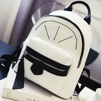 Leisure Contrast Color Mini Satchel PU Rucksack Girl Small Shopping Backpack