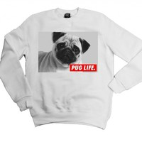21 Century Clothing Unisex-Adult Pug Life Sweatshirt Small White