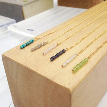 Vertical Gem Bar Necklaces