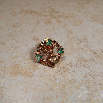 Avon Vintage Claddagh Tack Pin Gold Tone Green Enameled Rhinestone Celtic Irish Symbol Lapel Pin Brooch