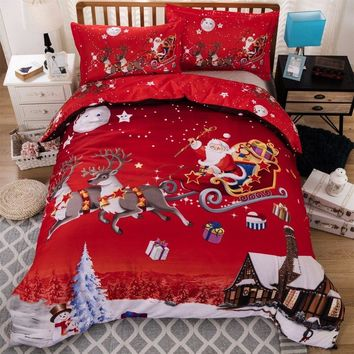 3D Printed Bedding Set Merry Christmas Santa Claus Elk Sleigh Duvet Cover Set Red US Twin Queen Size Bedclothes Bed Sheet Set