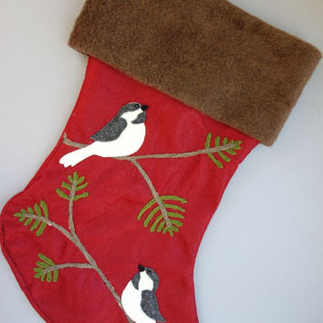Two Chickadees Christmas Stocking