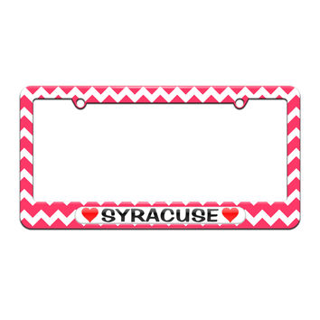 Syracuse Love with Hearts - License Plate Tag Frame - Pink Chevrons Design