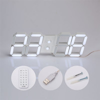 Zero USB 3D Modern Digital LED Home Wall Clock Timer 24/12 Hour Display 170220