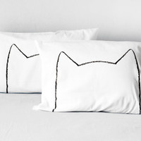 His and Hers Cool Cat Pillowcases, unique gift for the cat lover, Queen bedding, Set of 2 in White, 300TC, modern home, cat lady, pet lover