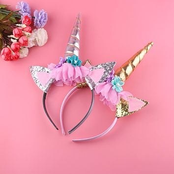 1 PC Rainbow Unicorn Horn Hairband  Easter Bonus For Party DIY Hair Accessoriess Kids Chiffon Unicorn Headband Glitter Hairband