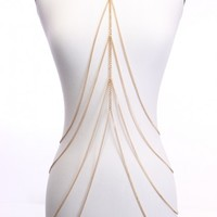 Gold Multi Cascading Draped Body Chain