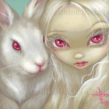 Faces of Faery 100 albino white rabbit bunny big eye fairy face art print by Jasmine Becket-Griffith 6x6