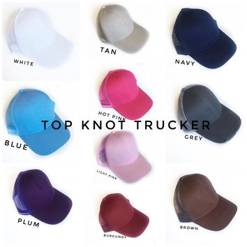 Women's bun hats - high pony tail hats | Women's trucker hats