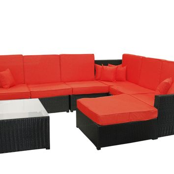 8-Piece Black Resin Wicker Outdoor Furniture Sectional Sofa Table and Ottoman Set - Red Cushions