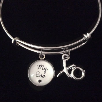 My Boo XO Silver Expandable Charm Bracelet Adjustable Bangle Gift Boyfriend Girlfriend  Hugs and Kisses
