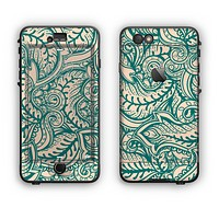The Delicate Green & Tan Floral Lace Apple iPhone 6 Plus LifeProof Nuud Case Skin Set