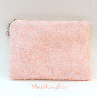 Blush Pink Sequin Clutch/Makeup/Toiletries Bag Glittery Sparkly Pale Pink Sequin With Beige Zipper & Optional Color Bead Zipper Pull