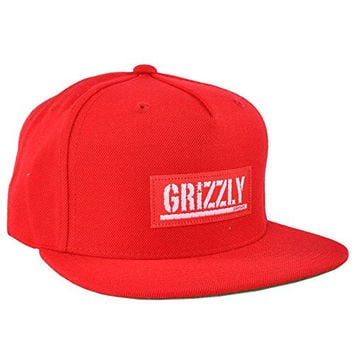 Grizzly Griptape Starter Stamp Label Red Snapback Hat