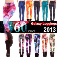 Galaxy Leggings Nebula Tights Elastic Pants Stars Cloud Printed Empire Waist Free Size
