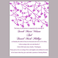 DIY Wedding Invitation Template Editable Word File Instant Download Printable Purple Invitation Elegant Wedding Invitation Heart Invitation