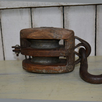 Vintage  Wooden Pulley – Farm Pulley – Nautical Pulley - Collectibles -  Antique Double Pulley - Industrial Decor
